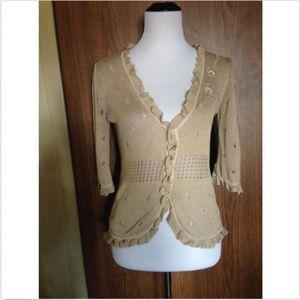 NANETTE LEPORE Cotton Blend Tan Cardigan SZ M